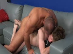 Redhead college guy gets barebacked by Muscled straight hunk