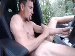 Slim guy jerks and cums in car