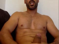str8 DILF jerking his big fat cock on cam and playing with his ass - no cum