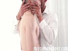 MissionaryBoyz - Muscle daddy barebacks horny boy on altar