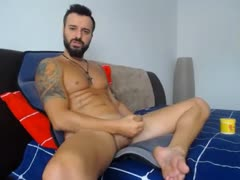 French guy jerks n cums all over his leg
