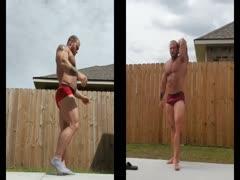 Caleb B flexing and posing