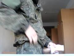Russian soldier straight wanking