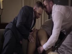 Three hunks in suits bareback