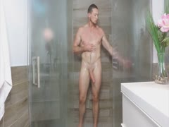 Pierce jerks off in the shower and bed